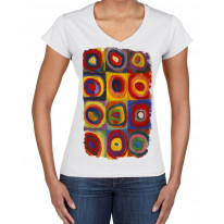 Wassilly Kandinsky Colour Study Square With Concentric Circles Large Print V Neck Women's T-Shirt