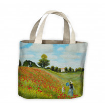 Claude Monet Poppy Field Tote Shopping Bag For Life