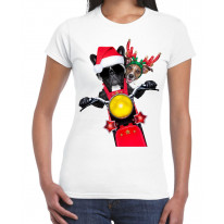 French Bulldog and Jack Russell Terrier Santa Claus Style Father Christmas Women's T-Shirt
