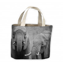 Elephants Black and White Tote Shopping Bag For Life