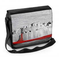 Tower of London Poppies Black and White Laptop Messenger Bag