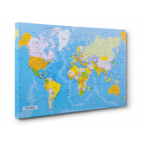 Map of the World Box Canvas Print Wall Art - Choice of Sizes