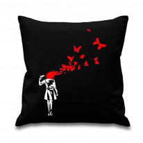 Banksy Butterfly Suicide Cushion