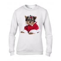 Yorkshire Terrier Puppy Santa Claus Father Christmas Women's Sweater \ Jumper