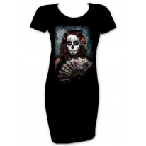 Day Of The Dead Girl With Fan T-Shirt Dress