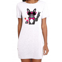 French Bulldog With Cocktail Smoothie Women's Short Sleeve T-Shirt Dress