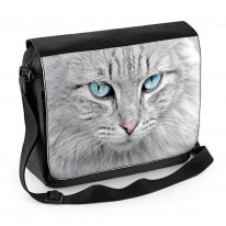 Grey Cat with Blue Eyes Laptop Messenger Bag