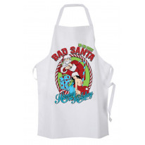 Bad Santa Happy Holidays Bah Humbug Christmas Chef's Kitchen Apron