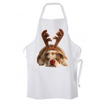 Bulldog Rudolph Reindeer Cute Christmas Chef's Kitchen Apron