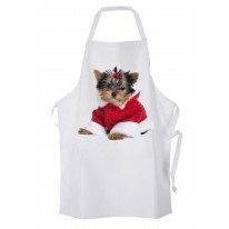 Yorkshire Terrier Puppy Santa Claus Father Christmas Chef's Kitchen Apron