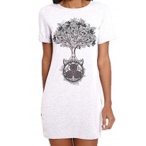 Celtic Spiral Tree of Life Large Print Women's T-Shirt Dress