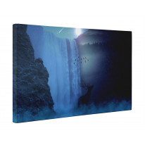 Stag at Waterfall by Moonlight Box Canvas Print Wall Art - Choice of Sizes