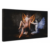 Angel and Devil Female Nudes Box Canvas Print Wall Art - Choice of Sizes