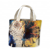 Elephant Painting Tote Shopping Bag For Life