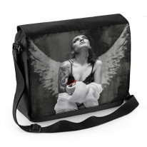 Fallen Angel with Tattoos and Wine Laptop Messenger Bag