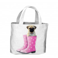Pug Dog In Pink Wellies Tote Shopping Bag For Life