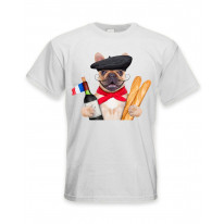 French Bulldog With Wine and Baguette Men's T-Shirt