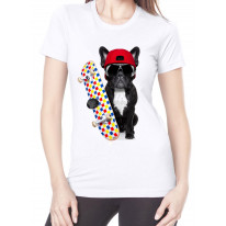 French Bulldog Skateboarder Funny Women's T-Shirt