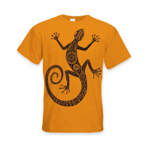 Tribal Lizard Tattoo Large Print Men's T-Shirt