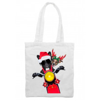 French Bulldog and Jack Russell Terrier Santa Claus Style Father Christmas Shoulder Shopping Bag