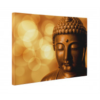 Buddha Golden Head Box Canvas Print Wall Art - Choice of Sizes