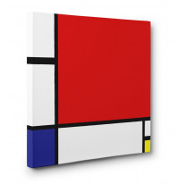 Piet Mondrian Composition with Red Yellow and Blue Box Canvas Print Wall Art - Choice of Sizes