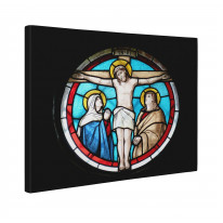 Jesus Crucifixion Stained Glass Box Canvas Print Wall Art - Choice of Sizes