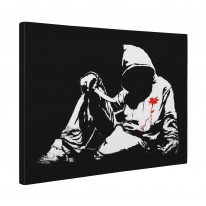 Banksy Hoodie with Knife Fallen Youth Box Canvas Print Wall Art - Choice of Sizes