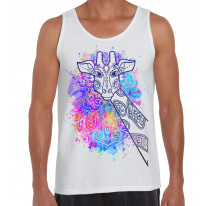 Giraffe Colour Splash Large Print Men's Tank Vest Top