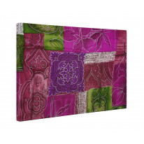 Patchwork Quilt Flowers Box Canvas Print Wall Art - Choice of Sizes