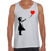 Banksy Girl With Heart Balloon Men's Tank Vest Top