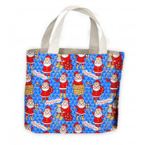 Christmas Santa Pattern On Blue Background Tote Shopping Bag For Life