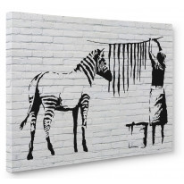Banksy Washed Zebra Box Canvas Print Wall Art - Choice of Sizes