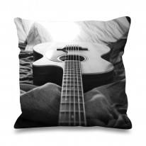Acoustic Guitar Black and White Faux Silk 45cm x 45cm Sofa Cushion