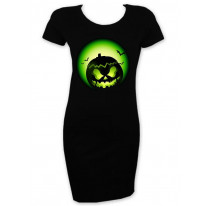 Halloween Pumpkin Green Face Short Sleeve T-Shirt Dress