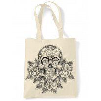 Skull and Roses Tattoo Large Print Tote Shoulder Shopping Bag