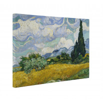 Van Gogh Wheat Field With Cypress Trees Box Canvas Print Wall Art - Choice of Sizes