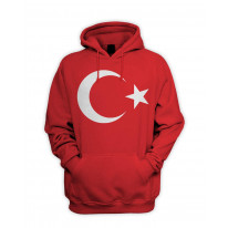 Turkish Flag Men's Pouch Pocket Hoodie Hooded Sweatshirt