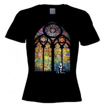 Banksy Stained Glass Womens T-Shirt