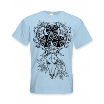 Deer Stag Skull With Celtic Spiral Large Print Men's T-Shirt