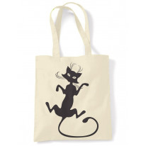 Black Cat Large Print Tote Shoulder Shopping Bag