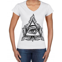 All Seeing Eye In A Triangle Illuminati Large Print V Neck Women's T-Shirt