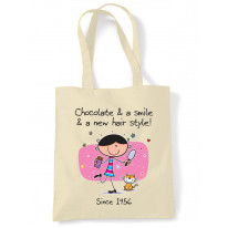 Chocolate and a Smile and a New Hairstyle 60th Birthday Tote Shoulder Shopping Bag