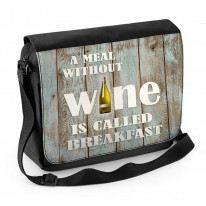 A Meal Without Wine is Called Breakfast Laptop Messenger Bag