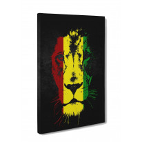 Lion of Judah Jamaican Colours Box Canvas Print Wall Art - Choice of Sizes