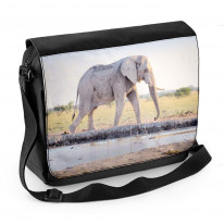 Elephant at Watering Hole Laptop Messenger Bag