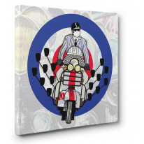 Mod Scooter With Mirrors Canvas Print Wall Art - Choice Of Sizes