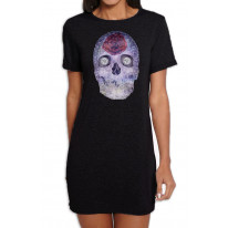 Crystal Skull Day Of The Dead Women's Short Sleeve T-Shirt Dress