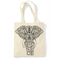 Tribal Indian Elephant Tattoo Large Print Tote Shoulder Shopping Bag