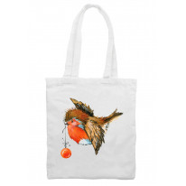 Christmas Robin With Bauble Cute Shoulder Shopping Bag